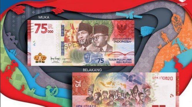 Bank Indonesia dan Kementerian Keuangan resmi merilis uang edisi khusus HUT ke-75 Republik Indonesia dengan pecahan Rp 75 Ribu. (Foto: tribunnews.com)